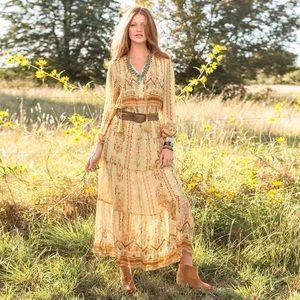 Awakening Silk Maxi Dress Sundance Boho Tribal